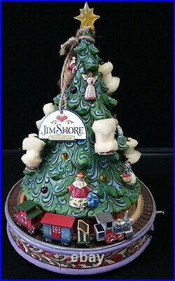 Jim Shore All Aboard For Christmas Joy Tree Train Musical Lighted Revolving