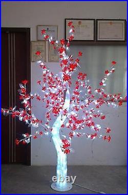 LED Christmas holiday Light Crystal Cherry Blossom tree Red flower white leaf