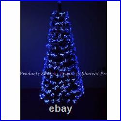 LED Pre Lit Christmas Tree Fiber Optic Xmas Lights Up Home Decor 7ft 210CM UK