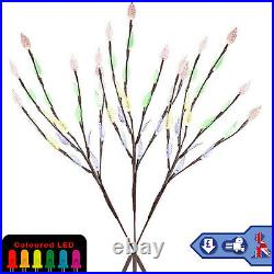 LED Solar 3 Pcs Multi Colour Garden Outdoor Decor Ornamental Tree Xmas Lights