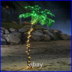 Lighted Artificial Palm Tree Nativity Scene 7 Ft. Warm Lights Home Garden Decor