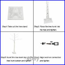 Lighted Birch Tree 6 Ft 96 LED Twinkle Star Christmas Decoration Blossom Tree