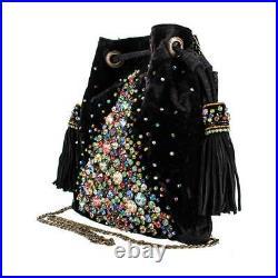 Mary Frances Bright Lights Christmas Xmas Black Velvet Bag Beaded Tree STAR NEW