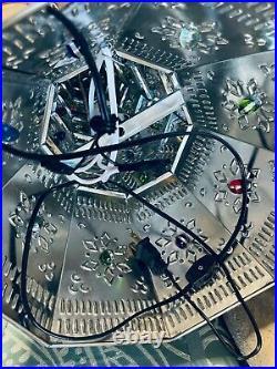 Mexican Folk Art Christmas Tree Ornament Marble Tin W Lights Electric XLarge 32