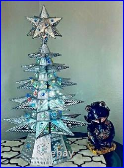 Mexican Punched Tin Christmas Tree Ornament Marble Light Large 27 Folk Art