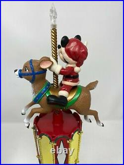 Mr. Christmas Disney Mickey Mouse Reindeer Carousel Tree Topper Rotates + Lights