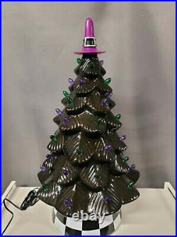 Mr Christmas Halloween Ceramic Tree animated musical lights Black 18 LED witch