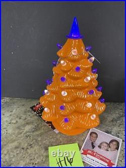 Mr Christmas Mr Halloween Ceramic Tree Orange 12 LED Lighted Witch Hat (h16)