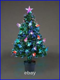Pre Lit Butterfly LED Fibre Optic Christmas Tree Xmas Home Decorations Lights