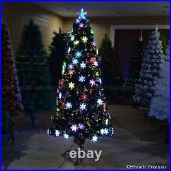 Pre Lit Christmas Tree Fiber Optic LEDS Lights Xmas Decorations Snowflake 2-6FT