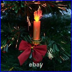 Pre-Lit Christmas Tree Fiber Optic LED Lights Xmas Home Decor Candle & Bow 2-6FT
