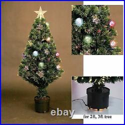 Pre-Lit Christmas Tree Fiber Optic Pine LED Light Xmas Decor Bauble & Star 2-6FT