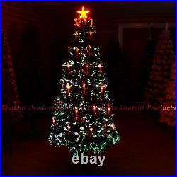 Pre Lit Christmas Tree Lights Fibre Optic with Holy Candle & Bow Home Decor