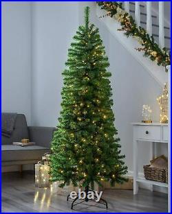 Pre-Lit Christmas Tree Slim 6ft 200 White LED Lights 1.8m Xmas New