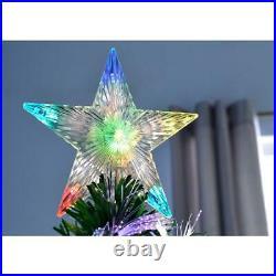 Pre Lit Christmas Tree Xmas Fibre Optic LED Lights Star 2ft 3ft 4ft 5ft 6ft 7ft