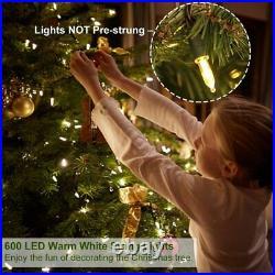 Pre Lit Christmas Trees 7.5 ft 600 LED Warm White 1350 Tips light not pre-strung