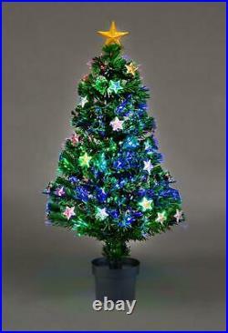 Pre Lit Fibre Optic Christmas Tree Stars Xmas Home Decorations Lights 2FT-6FT