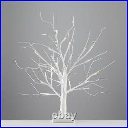 Pre Lit White Twig Tree 24 Warm White LEDs Christmas Lights