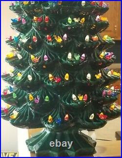 RARE 33 Vintage Ceramic Christmas Tree withBase, Atlantic Mold, Lights Star, Exc