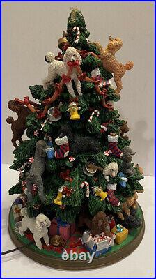 RARE Danbury Mint Poodle Figurine Lighted Christmas Tree Retired Dogs