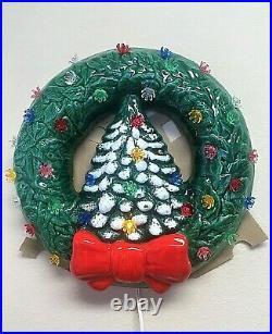 RARE Trim'n Glo Lighted Christmas Tree Wreath, Marcia Ceramics in Original Box