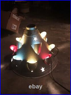 RARE VINTAGE CHRISTMAS TREE STAND METAL CONE LIGHTED with STARS Space Age Atomic