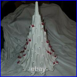 RARE VINTAGE MCM VOLCANO LAVA Ceramic CHRISTMAS TREE Birds and clear lights