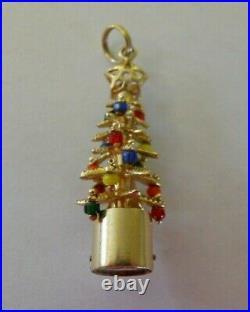 RARE Vintage 14k Gold LIGHT UP CHRISTMAS TREE Bracelet Charm 5.9 G #18008B