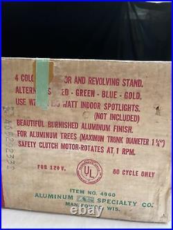 RARE Vintage EVERGLEAM TRI-LITE REVOLVING Aluminum Christmas Tree STAND 4960