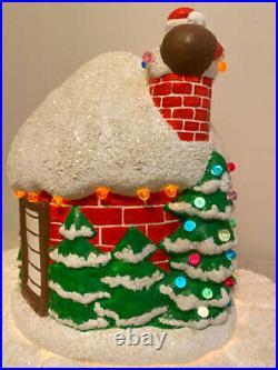 RARE! Vintage Zavoy Mold Ceramic Christmas Santa Igloo House Lighted Trees