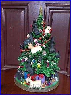 Rare Danbury Mint Scottish Terrier Christmas Tree Collectible With Lights & Cord