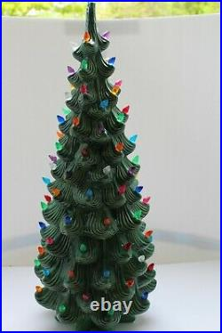 Rare Extra Large VINTAGE Ceramic Christmas Tree 1970's Atlantic Mold with Base 32
