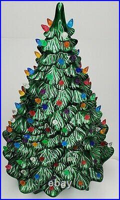 Rare Vintage Retro 20 Holland Mold Lighted Ceramic Christmas Tree On Base