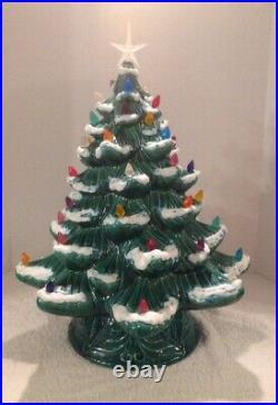 Rare Vtg Eur-o-con Mold 22 Green Ceramic Lighted Christmas Tree 2pc Flocked Exc