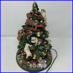 Retired Danbury Mint English Bulldog Lighted Christmas Tree Rare Working