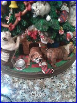 Retired Danbury Mint English Bulldog Lighted Christmas Tree pet lover works rare