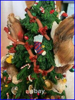 Retired Danbury Mint Shih Tzu Dog Christmas Tree Lighted Figurine