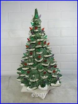 SNOW Caps Large 19 Vintage CERAMIC CHRISTMAS TREE Loads Multi-Color Lights