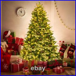 Snow Flocked Hinged Artificial Christmas Spruce Tree 6.5Ft Pre-lit with450 Lights