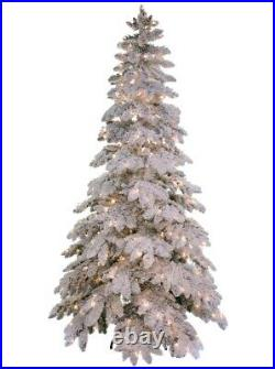 Trestrella 7.5 Heavy Flocked Snowfall Pine Prelit White Clear Lights Xmas Tree