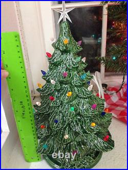 VINTAGE Atlantic Style Ceramic Christmas Tree 12.5 tall With Lights and Star
