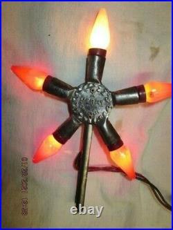 VINTAGE CHROME C-6 LIGHT UP STAR TREE TOPPER MERRY CHRISTMAS Refurbished-WORKS