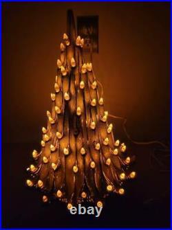 VINTAGE Ceramic VOLCANO 21 White Gold Christmas Tree with Orange Lights 1978