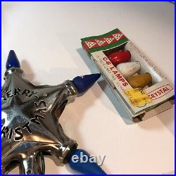 VINTAGE Noma CHROME C-6 LIGHT UP STAR TREE TOPPER MERRY CHRISTMAS extra bulbs
