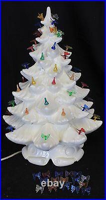 VTG Light up Ceramic Christmas Tree Snow Capped Base White Ivory Atlantic Mold