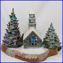 VTG RARE MCM Ceramic Mold Flocked Christmas Scene Church Tree Critters Lights
