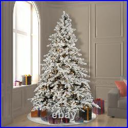 Vickerman Flocked Utica 7.5 Foot Christmas Tree with White Lights (Open Box)