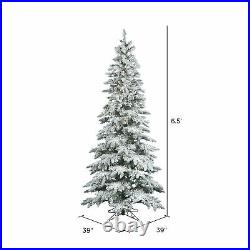 Vickerman Slim 6.5 Foot Flocked Artificial Christmas Tree with Light (Open Box)