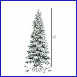 Vickerman Slim Utica 6.5 Foot Flocked Christmas Tree with White Light (Used)