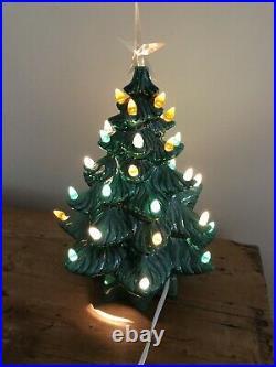 Vintage 15 Nostalgic Ceramic Green Glaze Lighted Table Top Christmas Tree Mains